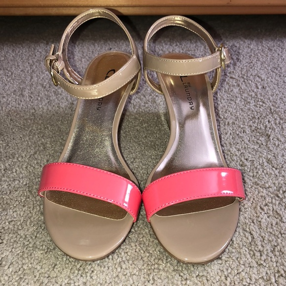 CL by Laundry Shoes - NUDE/CORAL WEDGES